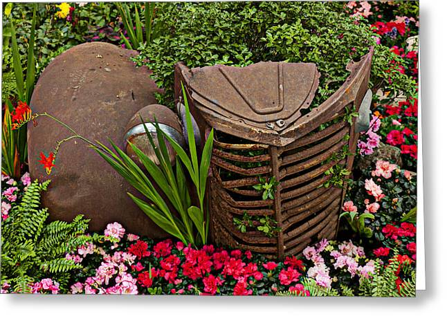Car In The Garden Greeting Card by Garry Gay