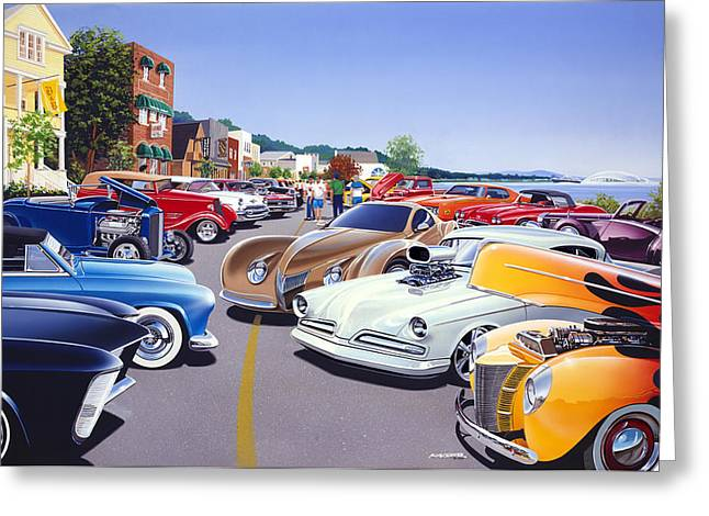 Car Show By The Lake Greeting Card by Bruce Kaiser