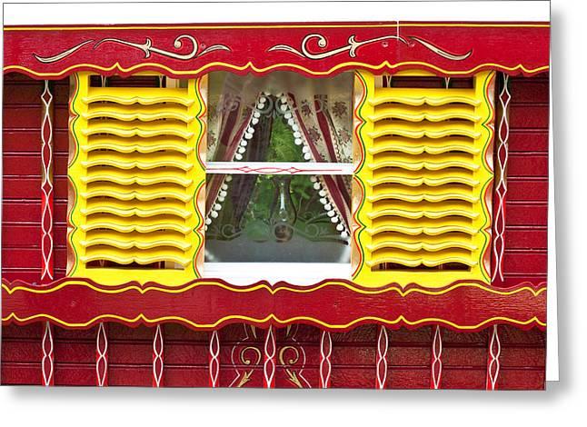 Caravan Window Greeting Card by Tom Gowanlock