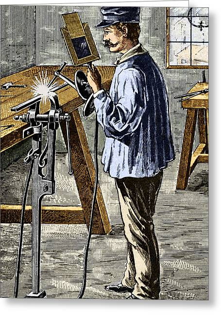 Carbon Arc Welding, 1900 Greeting Card by Sheila Terry
