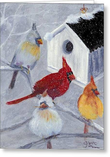 Cardinals In The Snow Greeting Card by Gloria Condon