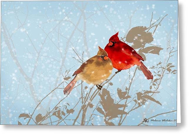 Cardinals In The Snow Greeting Card by Melanie Whitaker