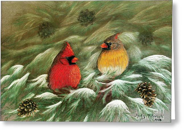 Cardinals In Winter Male And Female Cardinals Greeting Card