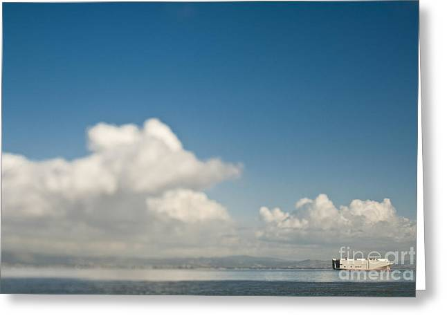 Cargo Ship On The Water Greeting Card by Eddy Joaquim