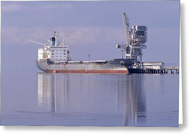 Cargo Tanker Ship Tied Up To A Jetty Greeting Card by Jason Edwards