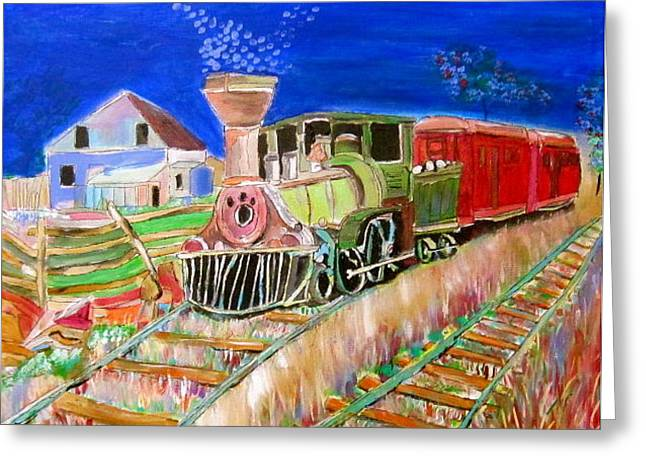 Carillon Grenville Engine Train Greeting Card by Michael Litvack