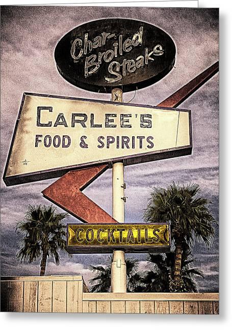 Carlees Food And Spirits Greeting Card by Ron Regalado
