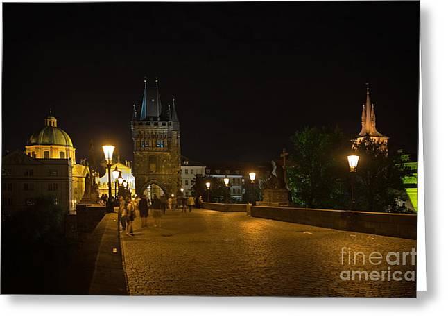 Carls Bridge Prague By Night Greeting Card