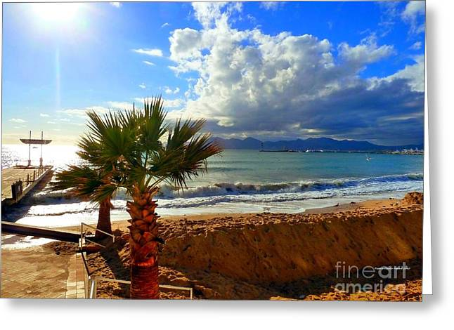 Greeting Card featuring the photograph Carlton Beach Cannes by Rogerio Mariani