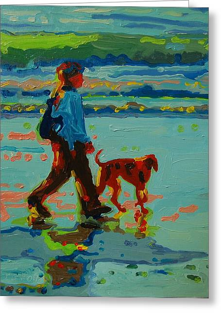 Carmel Beach Sunset Dog Walk Greeting Card by Thomas Bertram POOLE