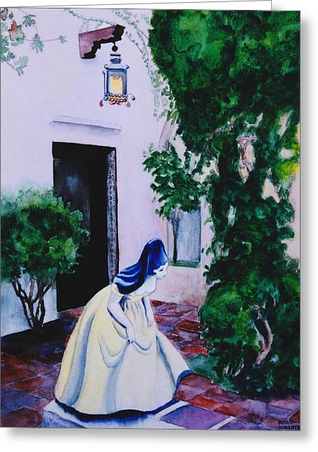 Carmel California Courtyard Greeting Card by Eve Riser Roberts