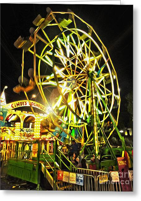 Carnival Ferris Wheel Greeting Card by Gregory Dyer