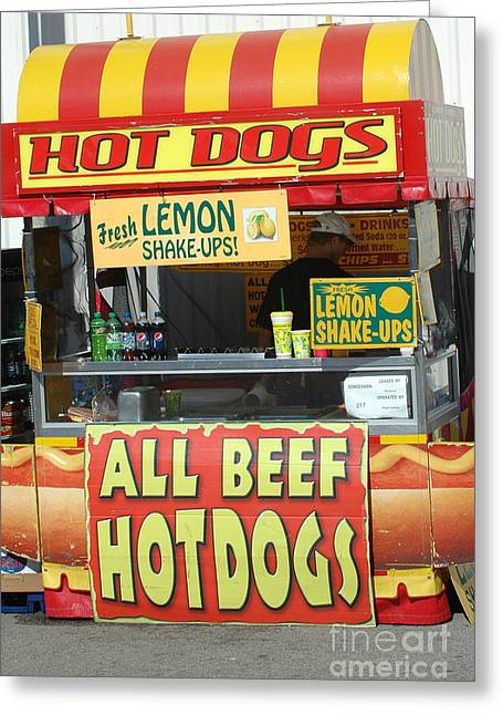 Carnival Festival Fair All Beef Hotdogs Food Stand Greeting Card by Kathy Fornal