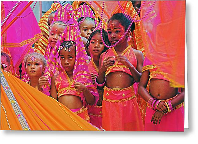 Greeting Card featuring the photograph Carnival Kids- St Lucia by Chester Williams
