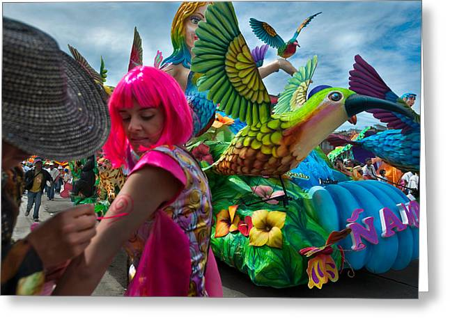 Carnival Of Blacks And Whites. City Of Pasto. Republic Of Colombia. Greeting Card by Eric Bauer