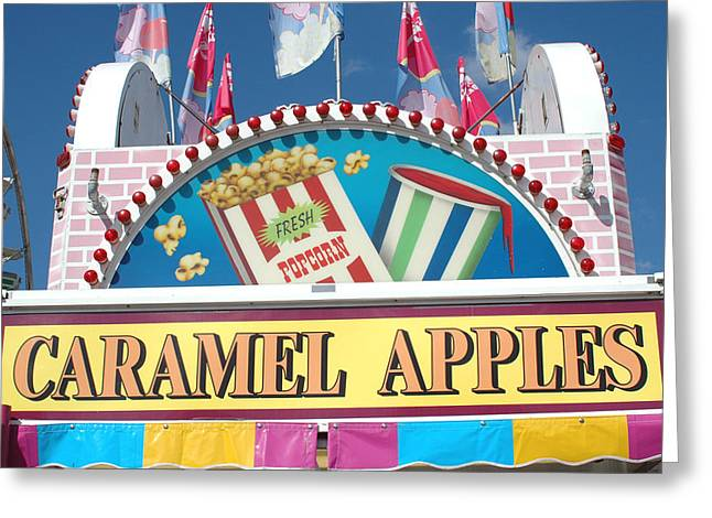 Carnivals Fairs And Festival - Caramel Apples Sign Greeting Card by Kathy Fornal