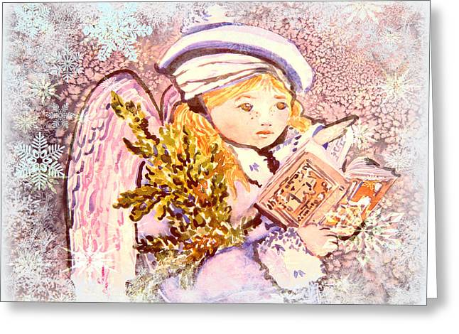 Caroling Angel Greeting Card by Mindy Newman