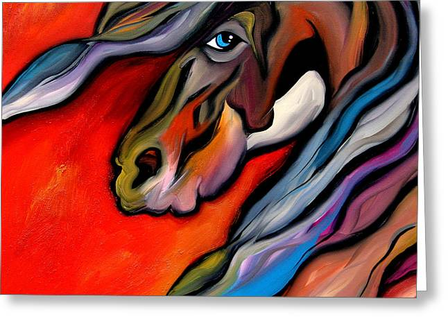 Carousel - Abstract Horse Art By Fidostudio Greeting Card by Tom Fedro - Fidostudio