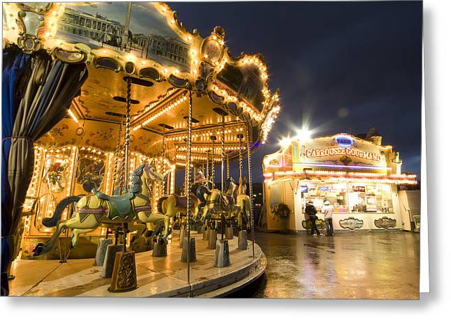 Carousel At The Eiffel Tower Greeting Card by Richard Nowitz