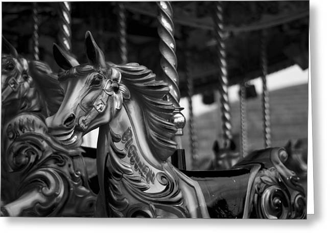 Greeting Card featuring the photograph Carousel Horses Mono by Steve Purnell
