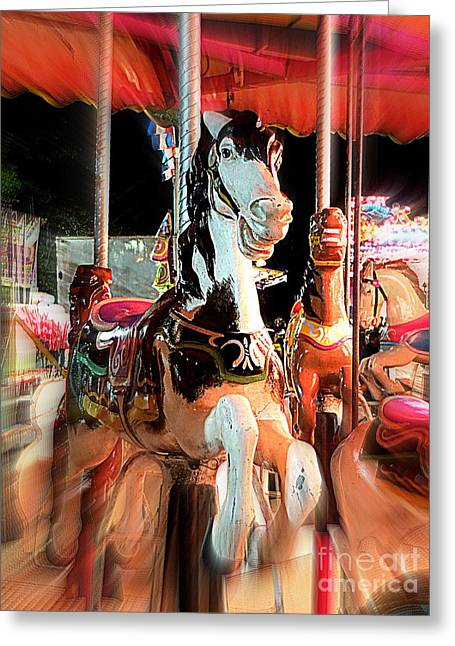 Greeting Card featuring the photograph Carousel Horses by Renee Trenholm