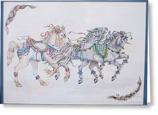 Carousel Parade Greeting Card by Becka Noel