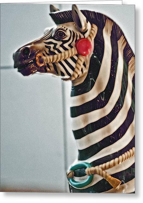 Carousel Zebra Greeting Card by Bill Owen