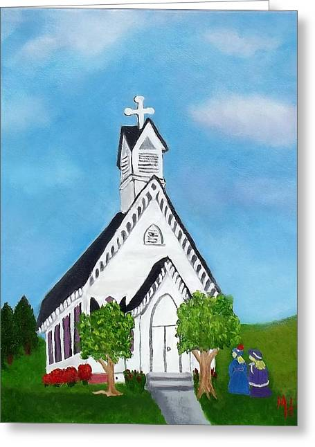 Greeting Card featuring the painting Carpenter Gothic Church In Louisiana by Margaret Harmon