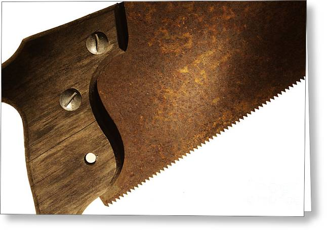 Carpenter Saw Greeting Card by Tony Cordoza