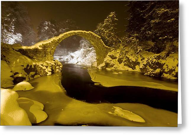 Carr Bridge At Night In Winter Greeting Card by Duncan Shaw