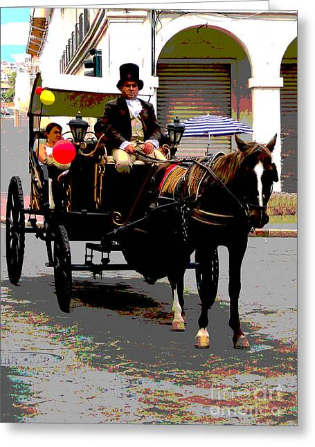 Carriage Ride In Cuenca Greeting Card by Al Bourassa