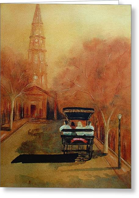 Carriage Ride On Church St In Charleston Sc Greeting Card by Rosie Phillips
