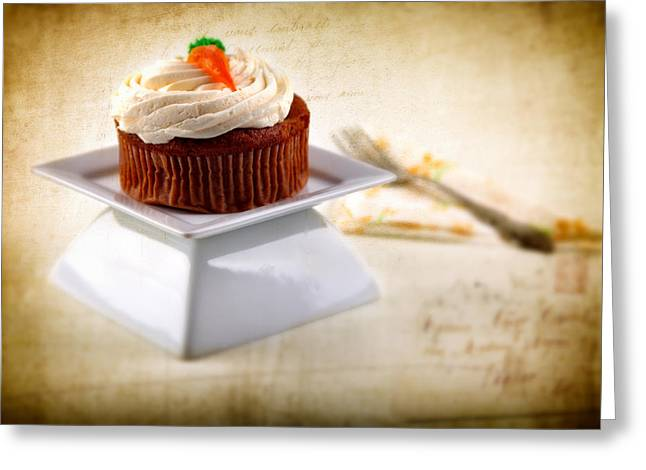 Carrot Cupcake Greeting Card by James Bethanis