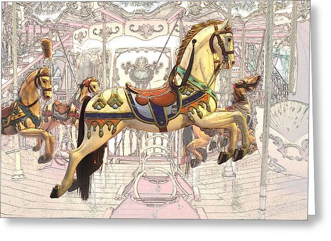Carrousel With Horses Greeting Card