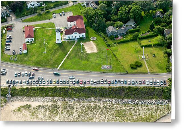Cars Line Up At The Parking Lot At Chatham Lighthouse And Chatha Greeting Card