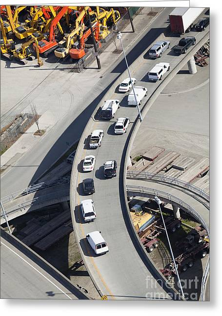 Cars On An Exit Ramp Greeting Card by Don Mason