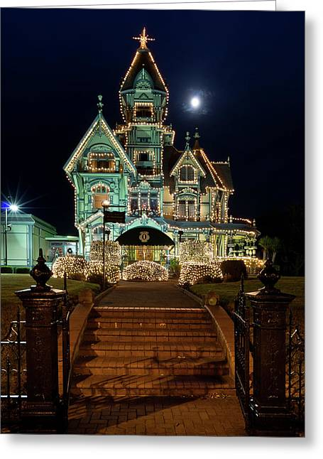 Carson Mansion At Christmas With Moon Greeting Card by Greg Nyquist