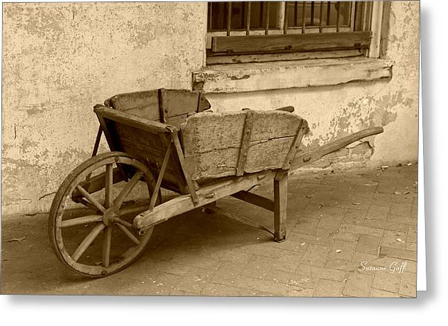 Cart For Sale In Sepia Greeting Card by Suzanne Gaff