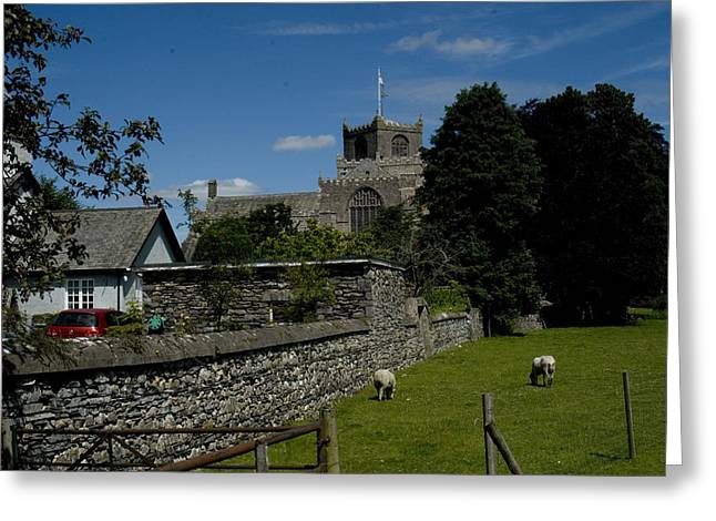 Cartmel Priory From The Causeway Greeting Card by Peter Jenkins
