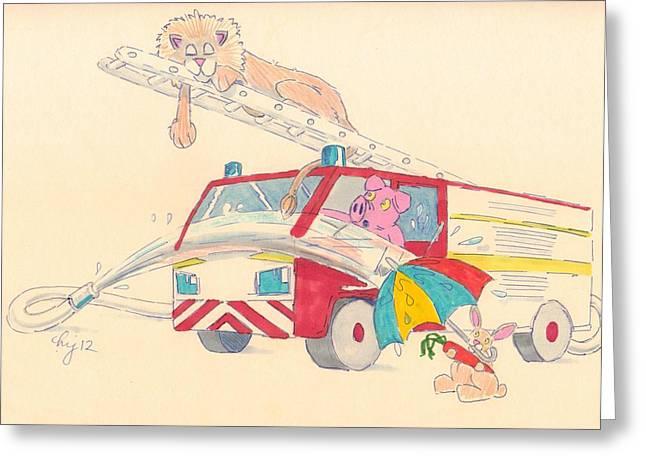 Cartoon Fire Engine And Animals Greeting Card