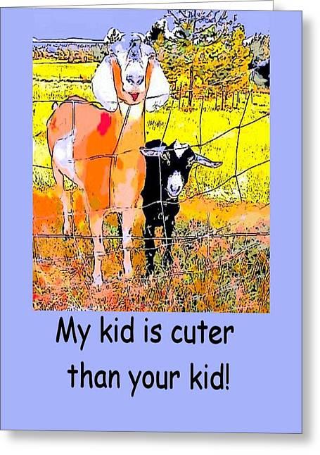 Cartoon Kid Greeting Card by Myrna Migala