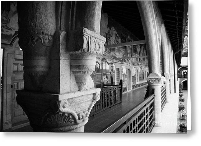 carved ornate pillar in the cloister of the Holy Royal and Stavropegiac Monastery kykkos troodos Greeting Card by Joe Fox