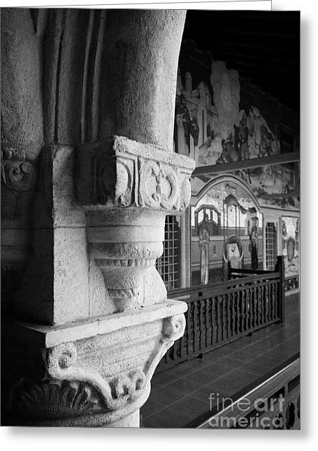 carved ornate pillar in the cloister of the Holy Royal and Stavropegiac Monastery Troodos Cyprus Greeting Card