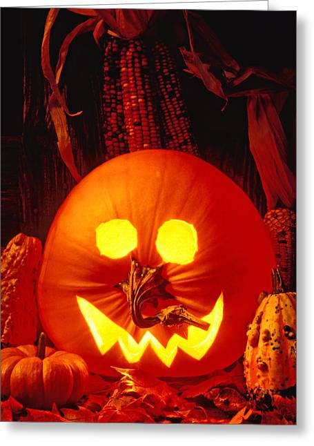 Carved Pumpkin With Fall Leaves Greeting Card by Garry Gay