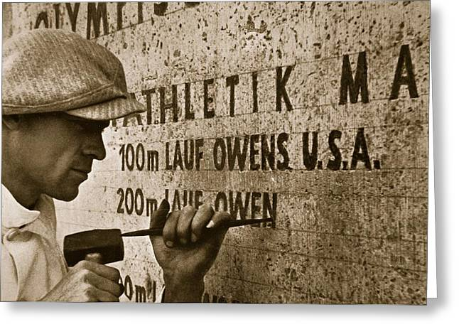 Carving The Name Of Jesse Owens Into The Champions Plinth At The 1936 Summer Olympics In Berlin Greeting Card