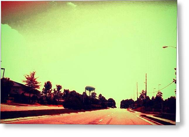 #cary #driving #sky #red #watertower Greeting Card