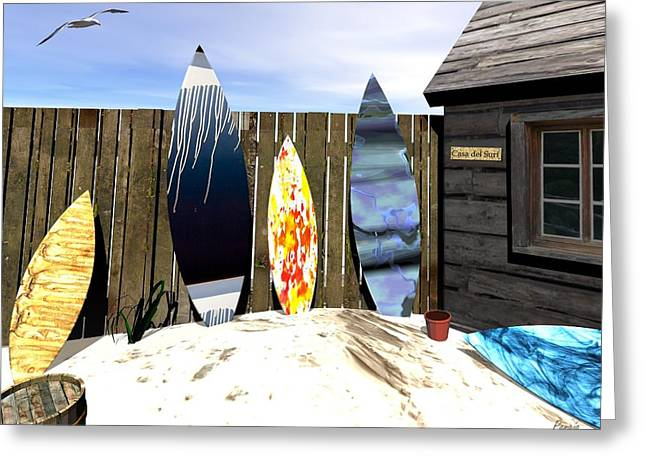 Greeting Card featuring the digital art Casa Del Surf by John Pangia