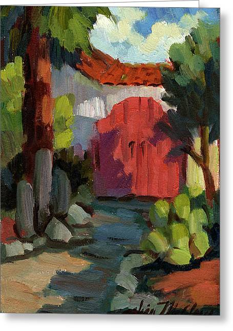 Building. Home Greeting Cards - Casa Tecate Gate Greeting Card by Diane McClary