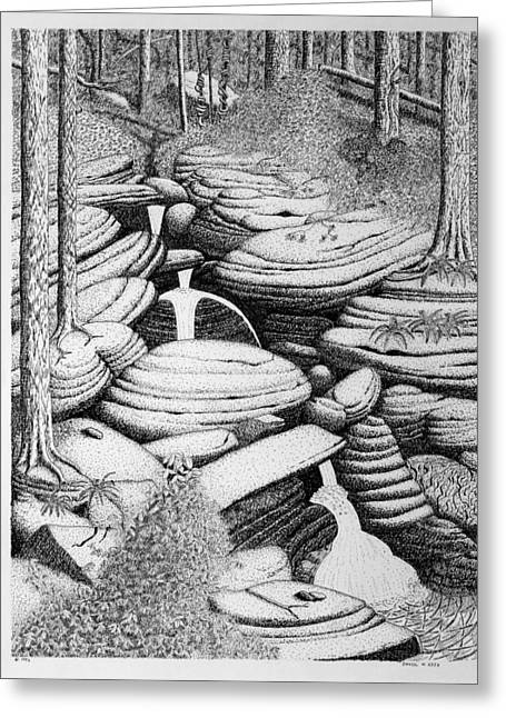 Greeting Card featuring the drawing Cascade In Boulders by Daniel Reed