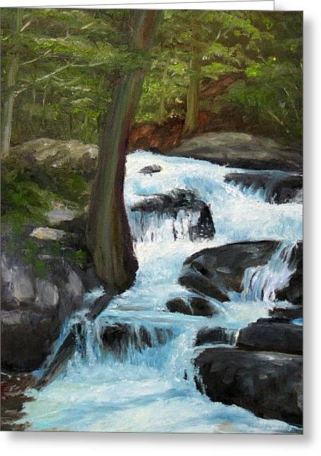 Cascade Thru The Woods Greeting Card by Iris Nazario Dziadul